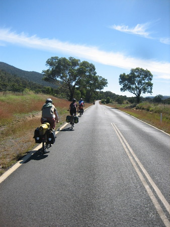 We found two more bicycle tourers headed back to Canberra... road train!