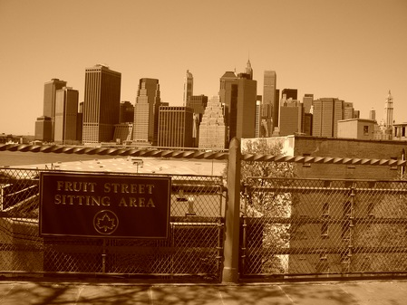 Fruits Streets sitting area in Brooklyn Heights, views to Manhattan (sepia)